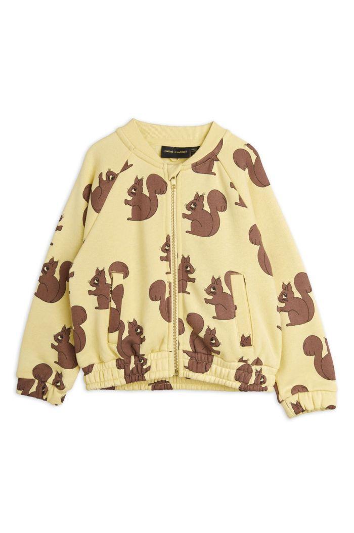 Mini Rodini Squirrel all-over print sweatjacket Yellow_1