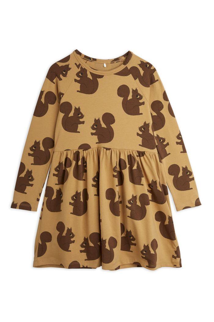 Mini Rodini Squirrel all-over longsleeve dress Brown_1