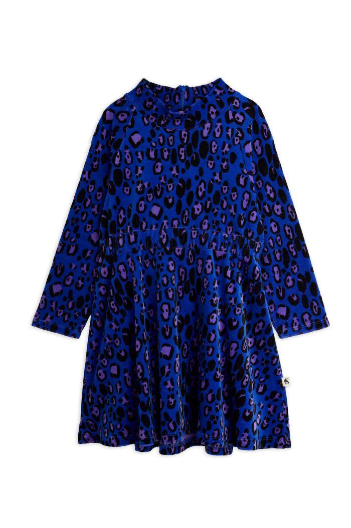 Mini Rodini Leopard velour dress Blue_1