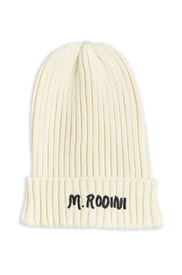 Mini Rodini Fold up rib hat Offwhite_1