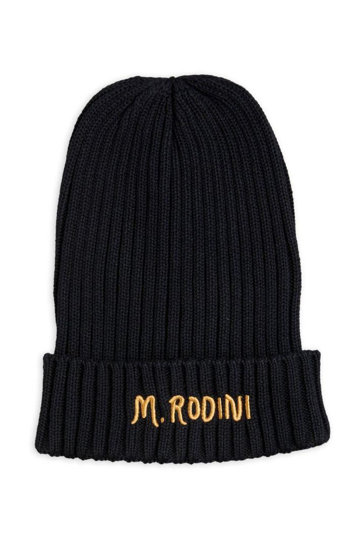 Mini Rodini Fold up rib hat Black_1