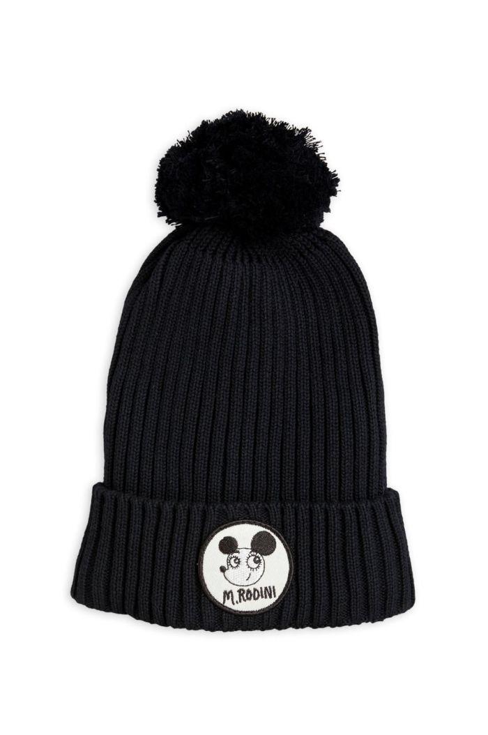Mini Rodini Ritzrat pompom hat Black_1