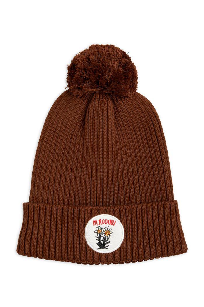 Mini Rodini Edelweiss pompom hat Brown_1