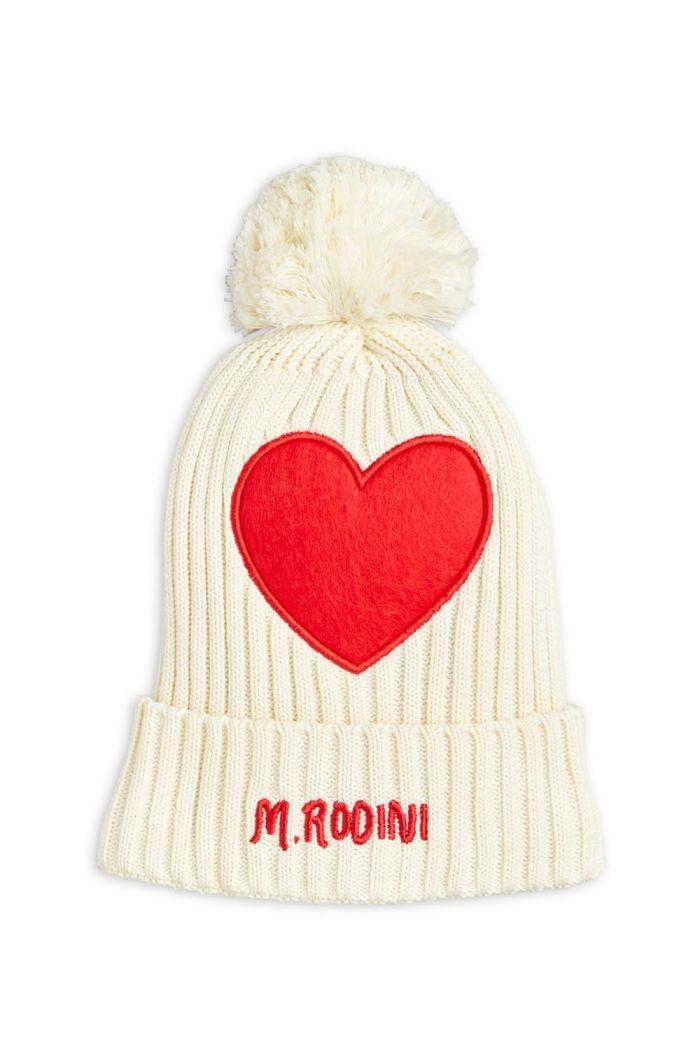 Mini Rodini Heart pompom hat Offwhite_1