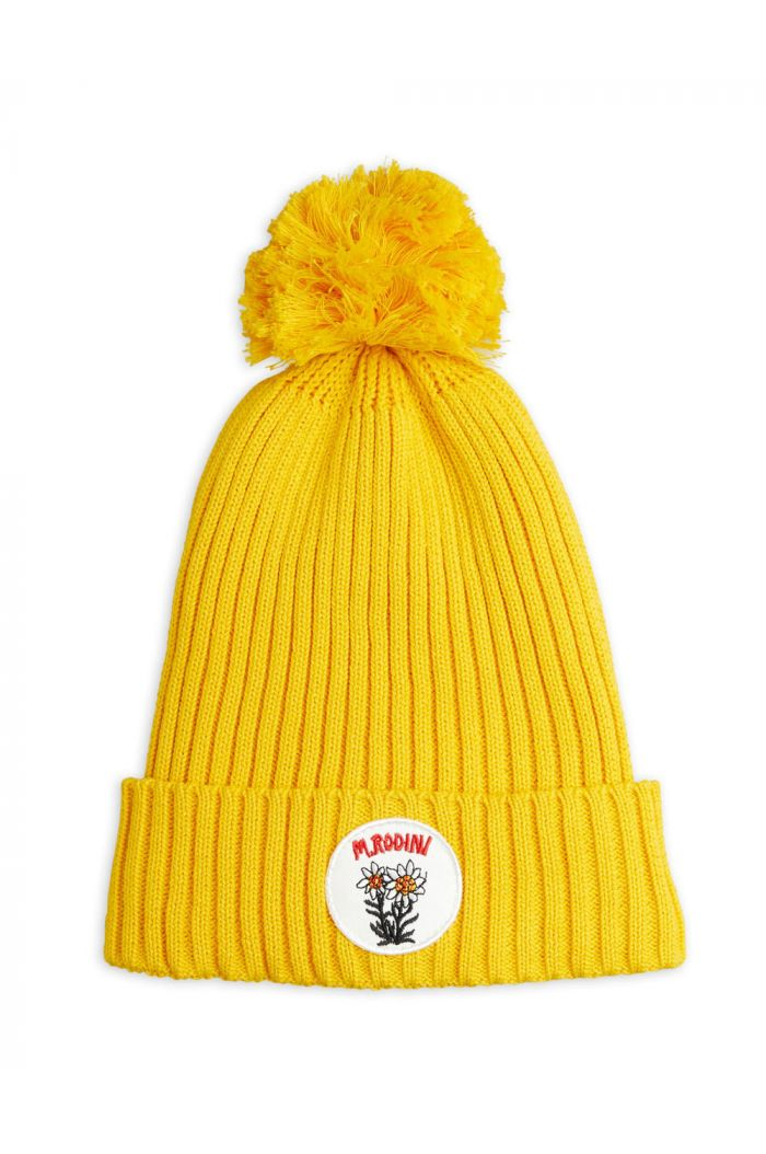 Mini Rodini Edelweiss pompom hat Yellow_1