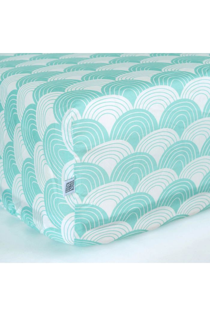 Swedish Linens Rainbows Fitted crib sheet Minty blue