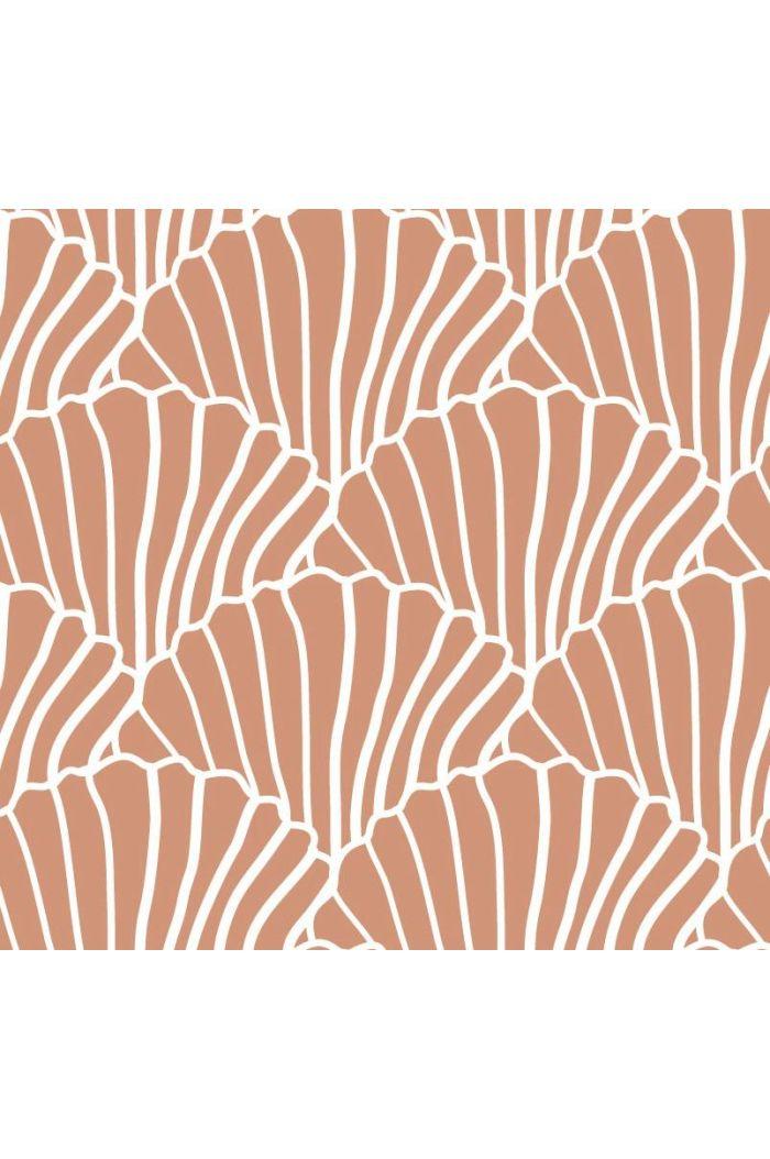 Swedish Linens Seashells Bed Sheet Terracotta Pink_1