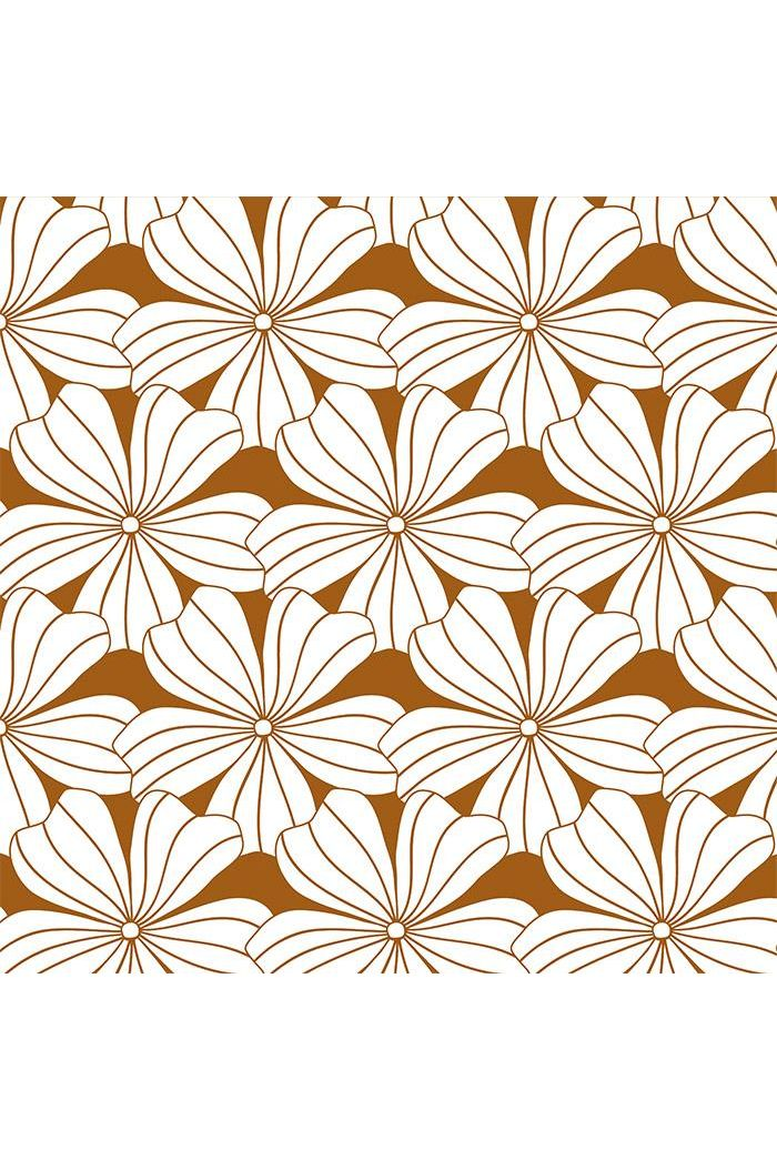 Swedish Linens Flowers Fitted Sheet Cinnamon brown_1
