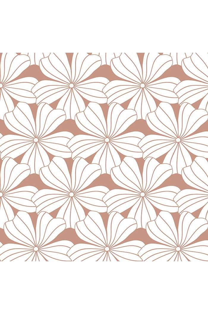 Swedish Linens Flowers Fitted Sheet Terracotta Pink_1