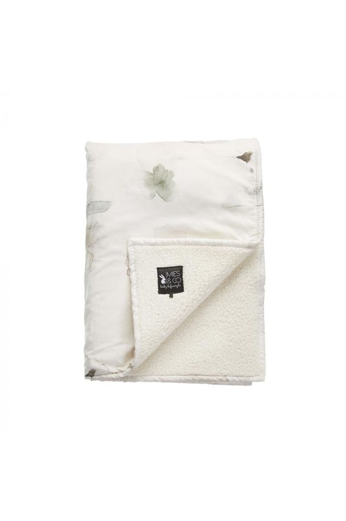 Mies & Co Soft Teddy Blanket Big Forever Flower Offwhite