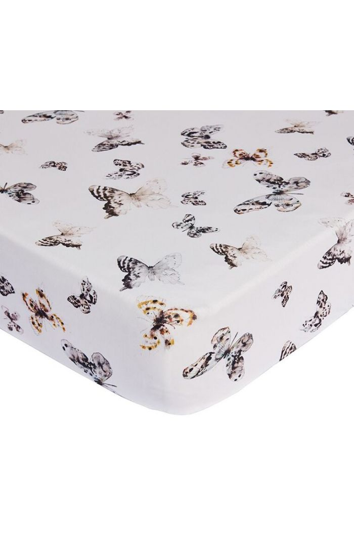 Mies & Co Fitted Sheet Baby Crib Fika Butterfly Offwhite