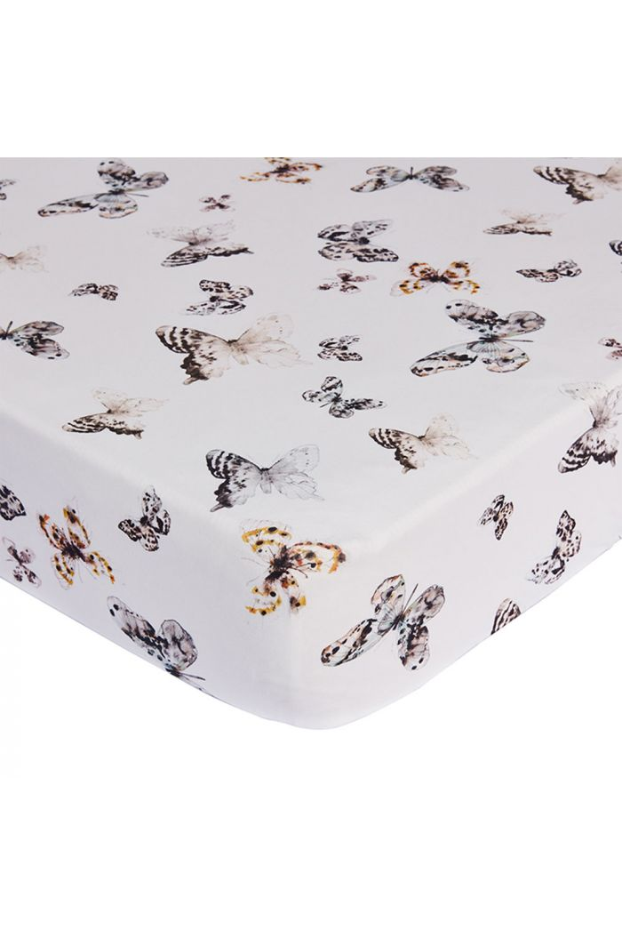 Mies & Co Fitted Sheet Toddler Bed Fika Butterfly Offwhite