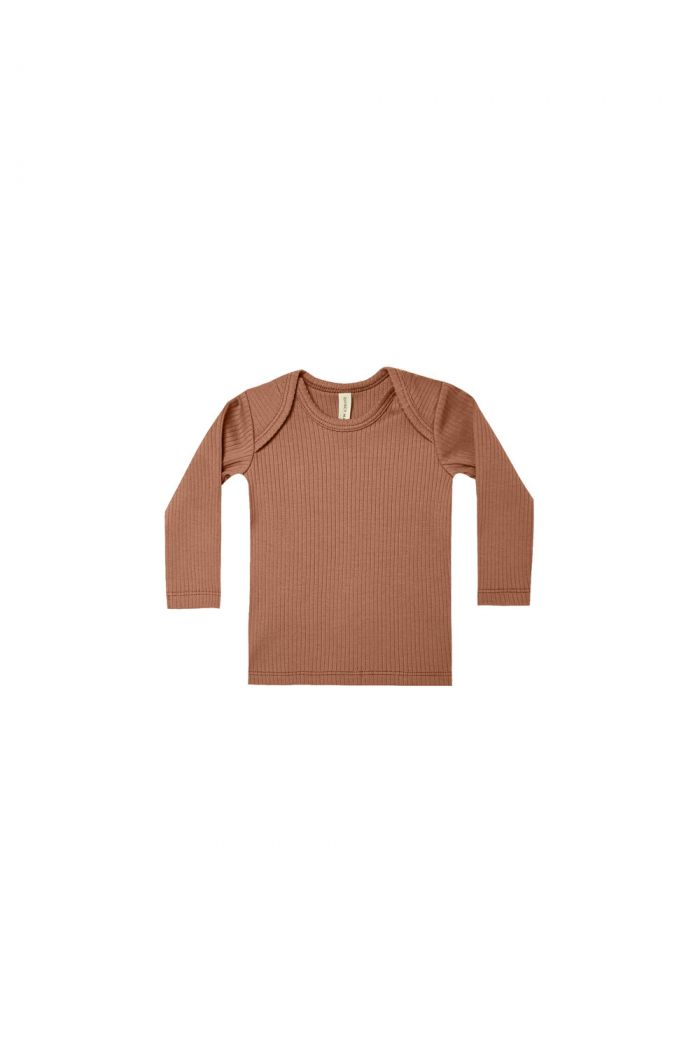 Quincy Mae Ribbed Lap Tee Clay_1
