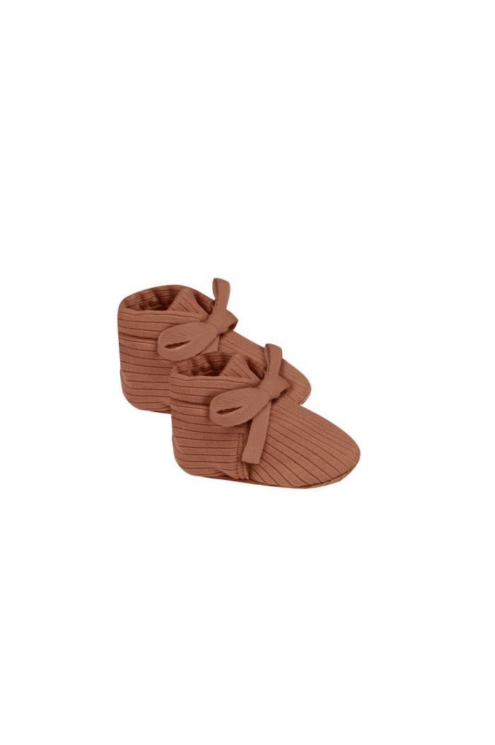 Quincy Mae Ribbed Baby Booties Clay_1