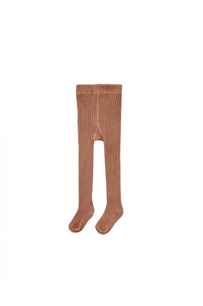 Quincy Mae Solid Ribbed Tights Clay_1
