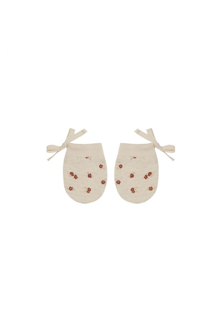 Quincy Mae Pointelle No Scratch Mittens Petite Floral_1