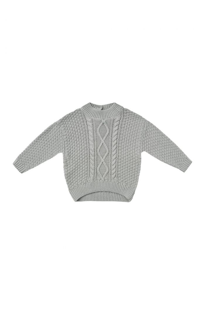 Quincy Mae Cable Knit Sweater Dusty Blue_1