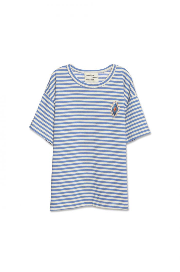 Wander & Wonder Aztec Stripe Tee Steel Stripe_1