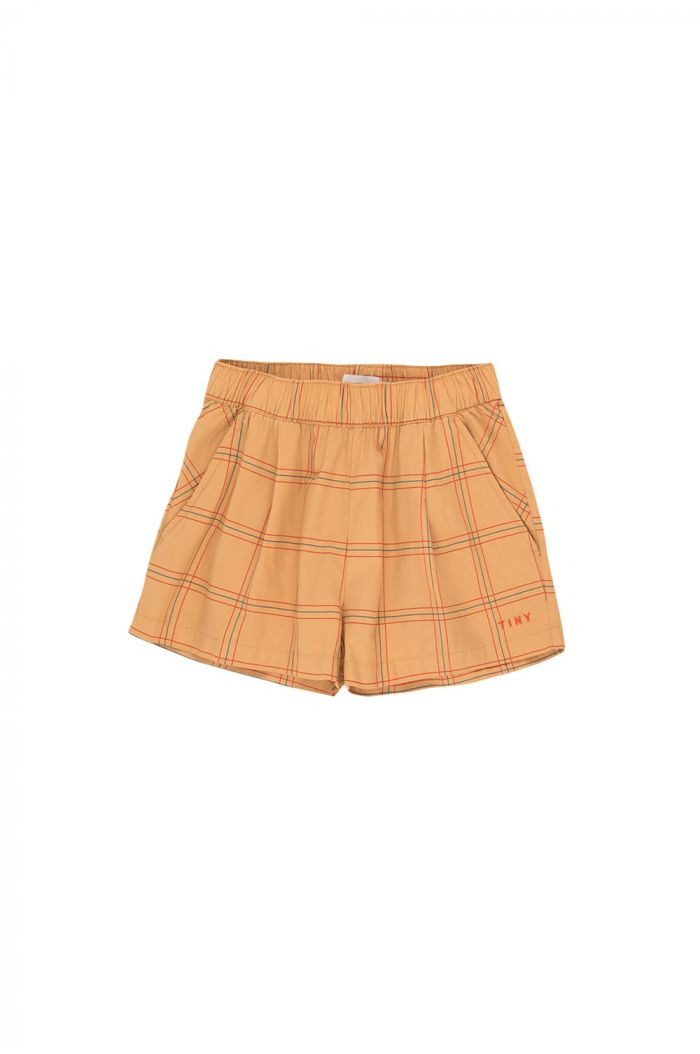 Tinycottons Check Pleated Short toffee/red