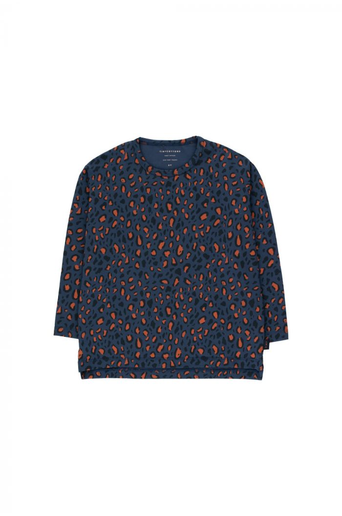 "Tinycottons ""Animal Print"" Tee light navy/dark brown_1"