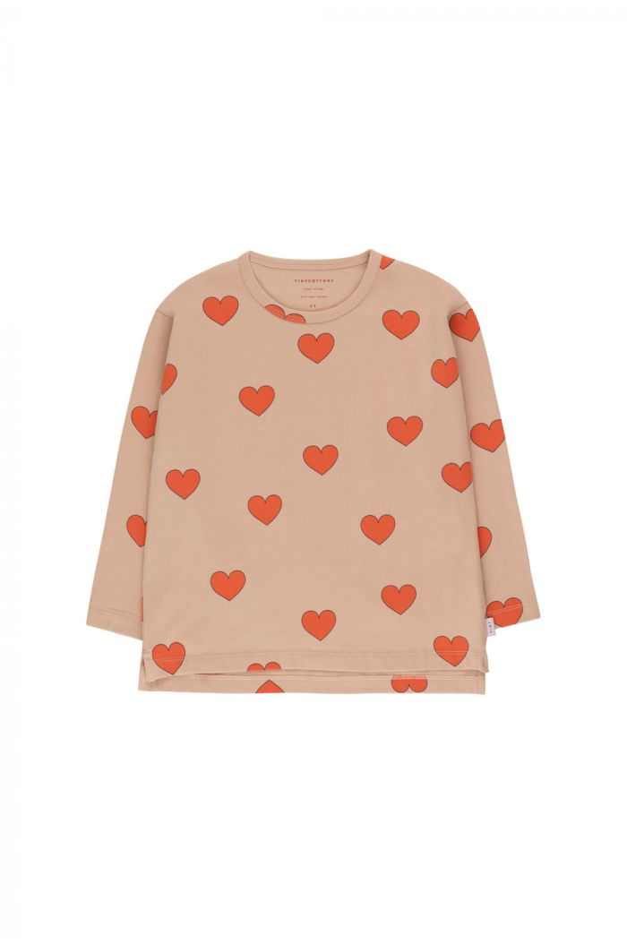 """Tinycottons """"Hearts"""" Tee light nude/red_1"""