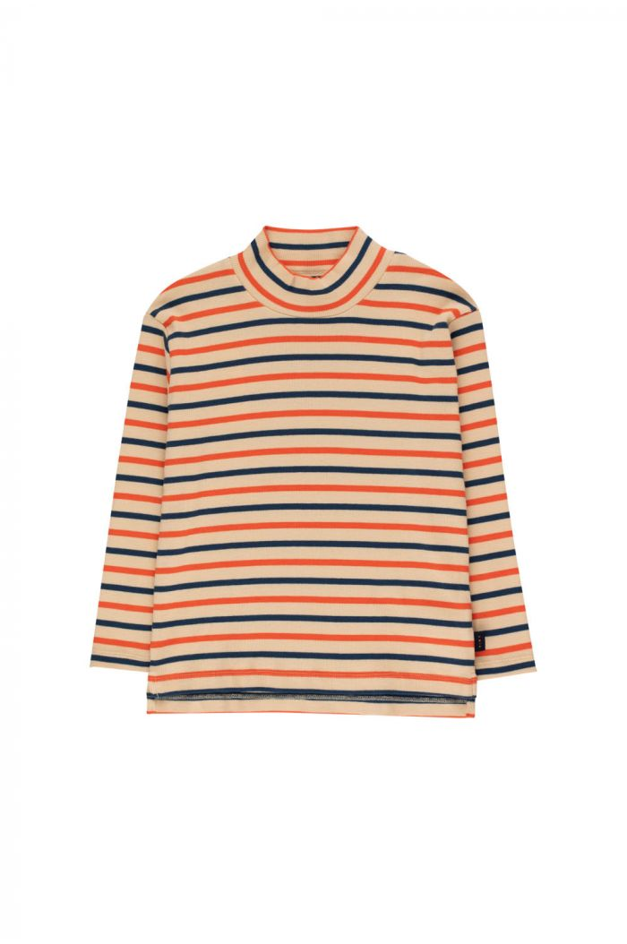 "Tinycottons ""Stripes"" Mockneck Tee cappuccino/light navy/red_1"