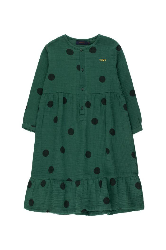 "Tinycottons ""Big Dots"" Dress dark green/black_1"