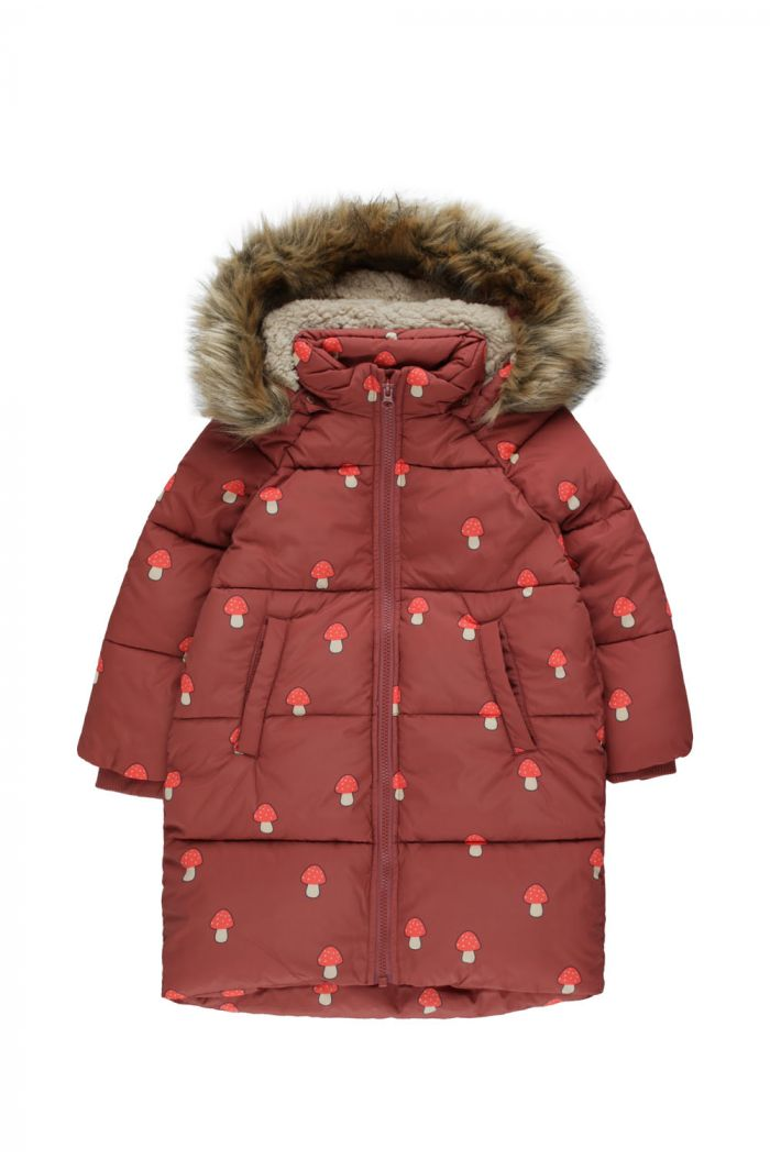 "Tinycottons ""Mushrooms"" Padded Jacket dark brown/red_1"