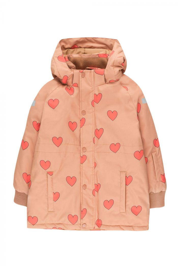 "Tinycottons ""Hearts"" Snow Jacket tan/red_1"