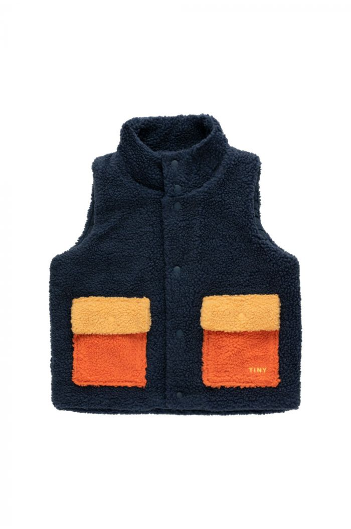 "Tinycottons ""Tiny"" Color Block Sherpa Vest Navy_1"