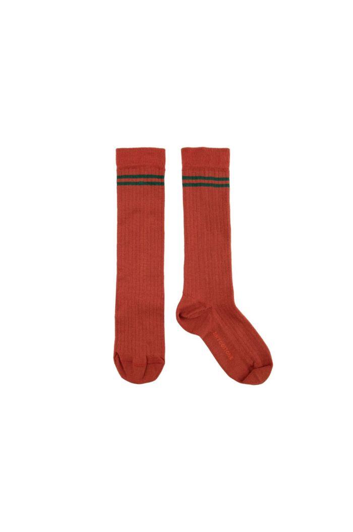 Tinycottons Stripes High Socks sienna/dark green_1