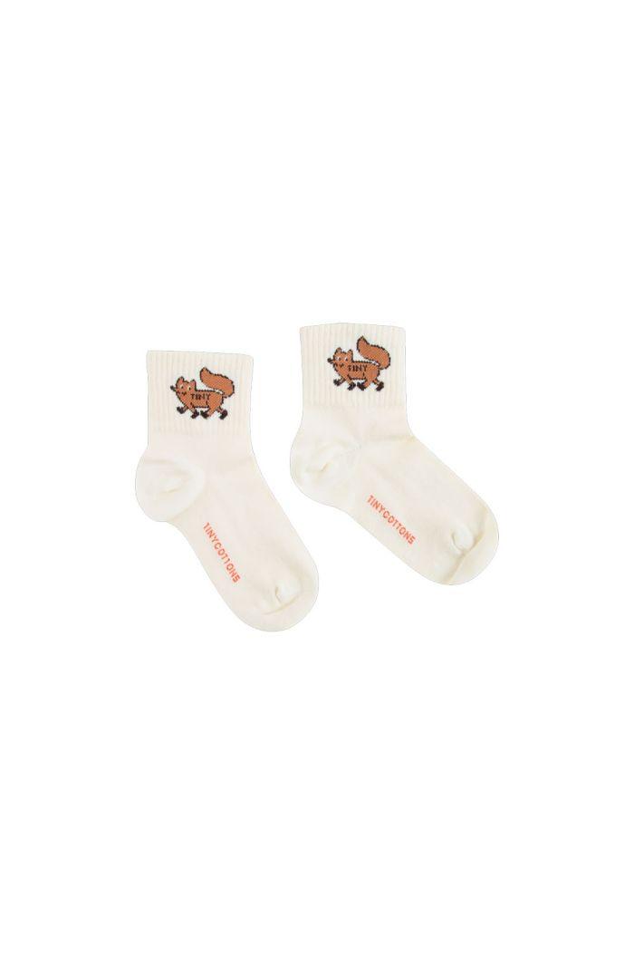 "Tinycottons ""Tiny Fox"" Quarter Socks cream/sienna_1"
