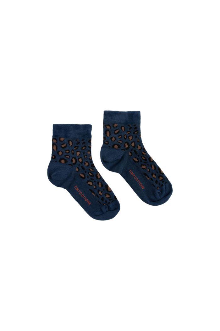 Tinycottons Animal Pattern Quarter Socks light navy/dark brown_1