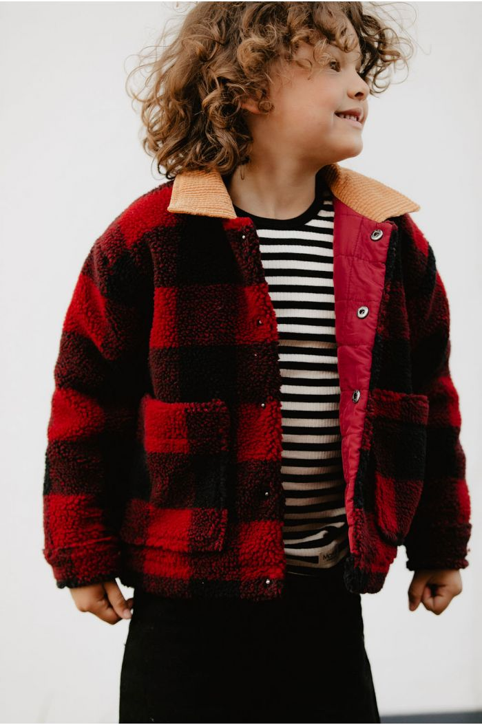 Tinycottons Check Sherpa Jacket burgundy/navy_1