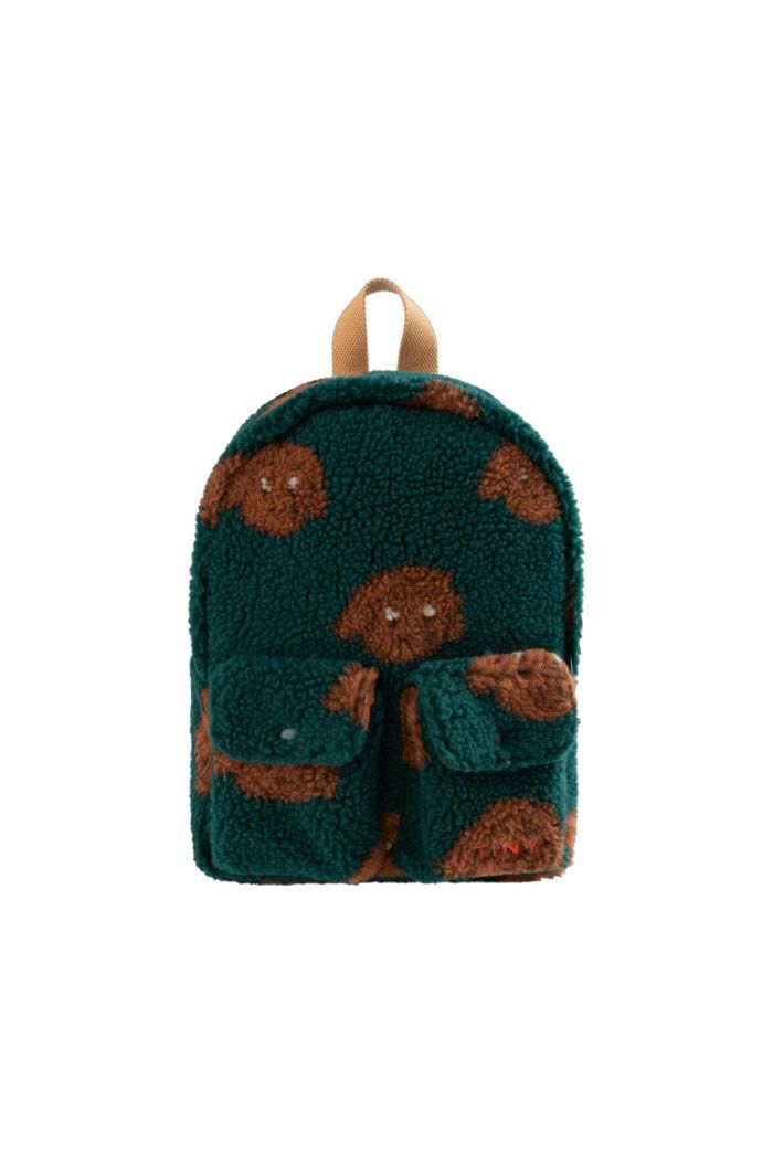 "Tinycottons ""Tiny Dog"" Small Sherpa Backpack dark green/sienna_1"