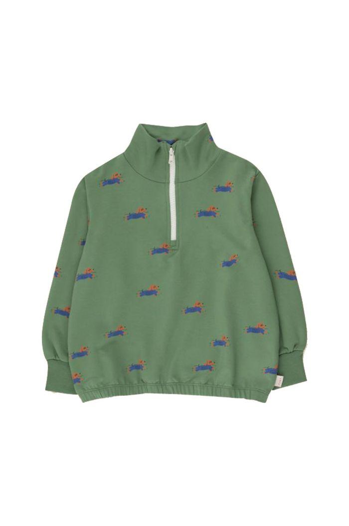 Tinycottons Doggy Paddle Mockneck Sweatshirt Green/Iris Blue_1