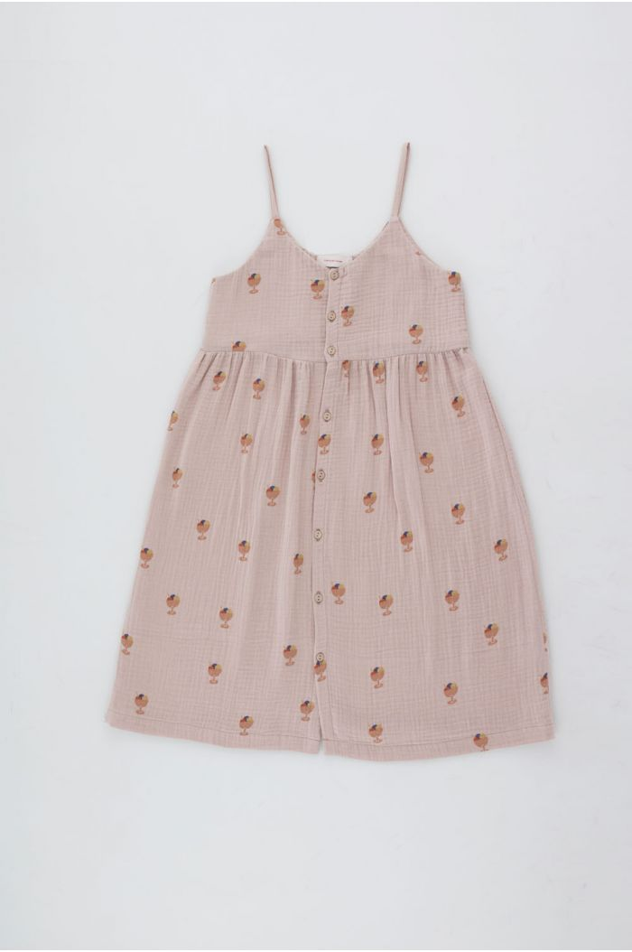 Tinycottons Ice Cream Cup Strap Dress Dusty Pink/Papaya