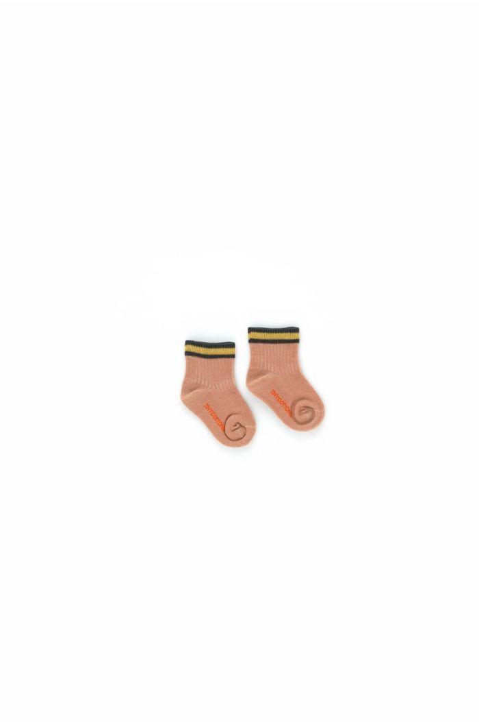 Tinycottons Thin Stripes Quarter Socks Nude_1