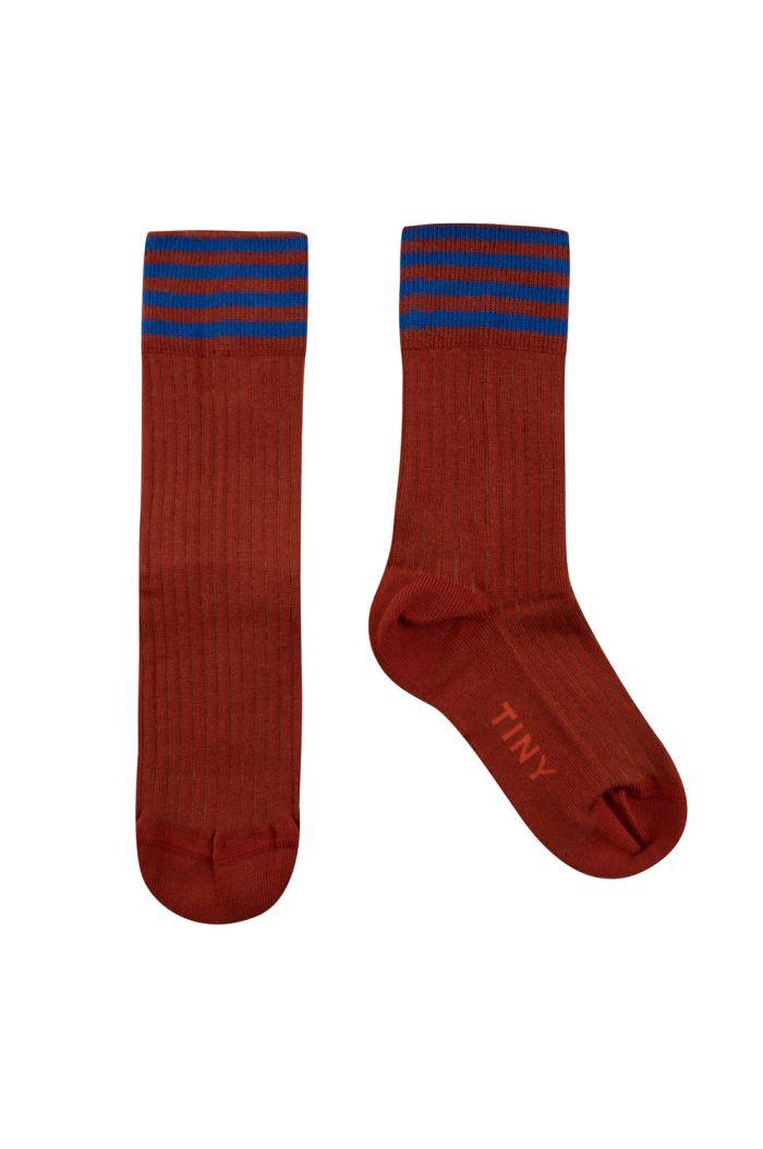 Tinycottons Stripes Medium Socks Dark Copper/Ultramarine_1