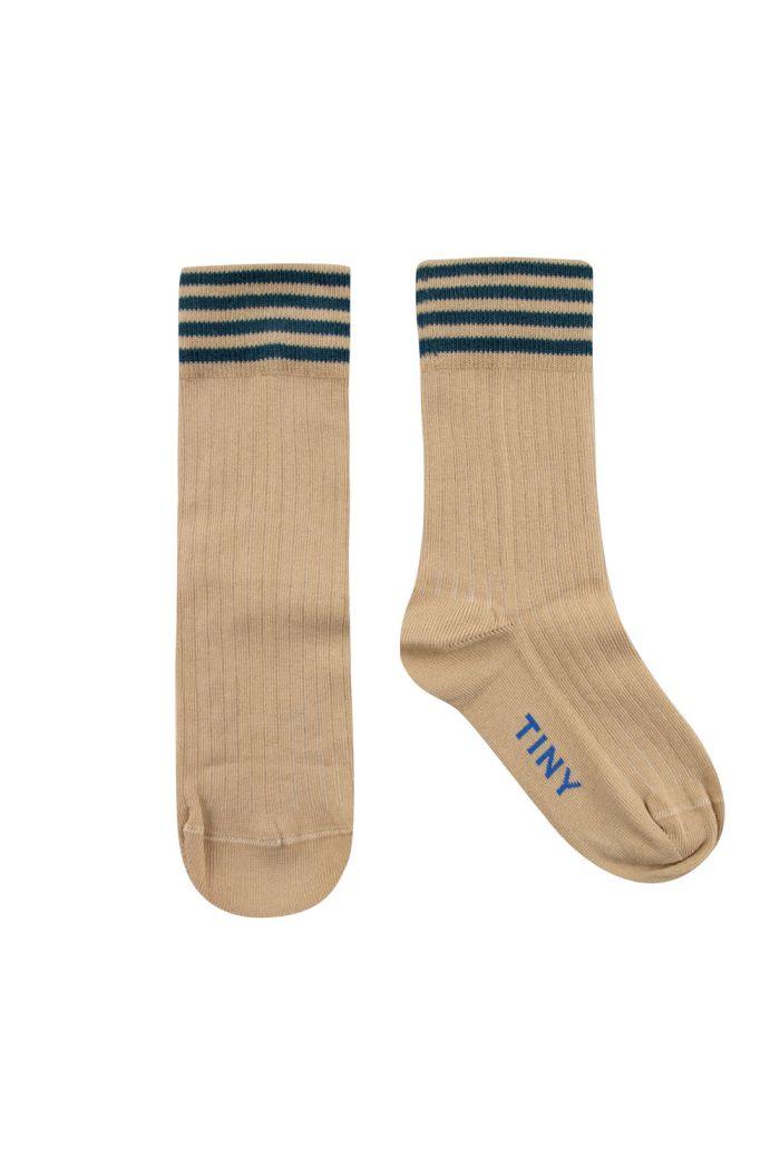 Tinycottons Stripes Medium Socks Cappuccino/Stormy Blue_1
