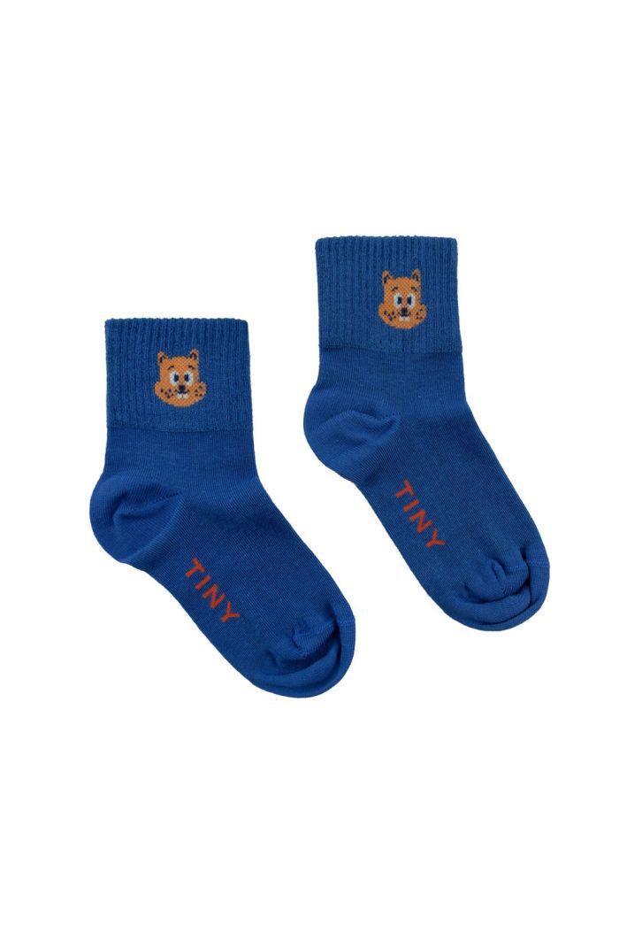Tinycottons Squirrel Quarter Socks Iris Blue/True Brown_1