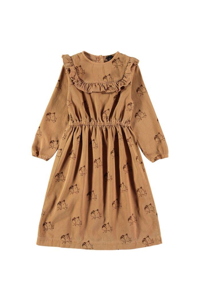 Bonmot Dress ruffled yoke trekking Wood_1