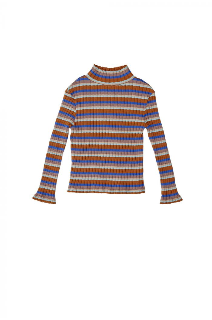 The Campamento Striped Turtle Neck Rib T-Shirt Blue_1