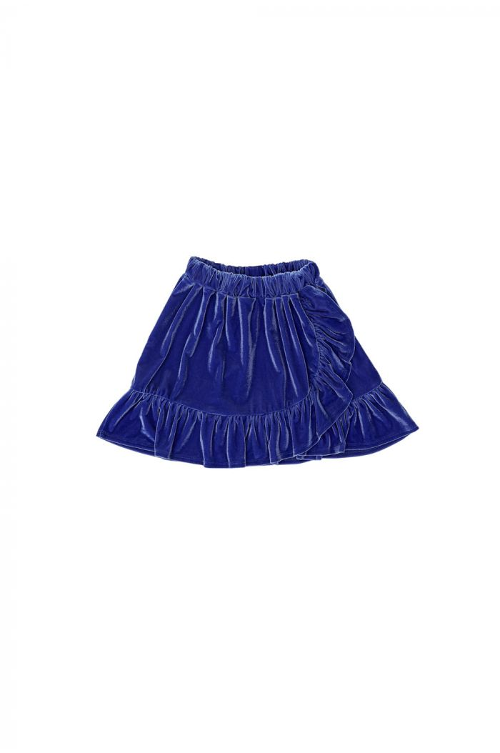The Campamento Velvet Skirt Blue_1
