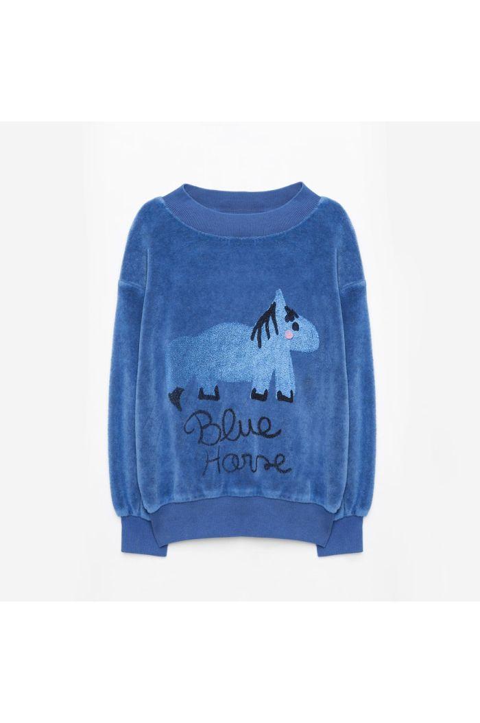 Weekend House Kids Blue Horse Soft Sweatshirt Blue_1