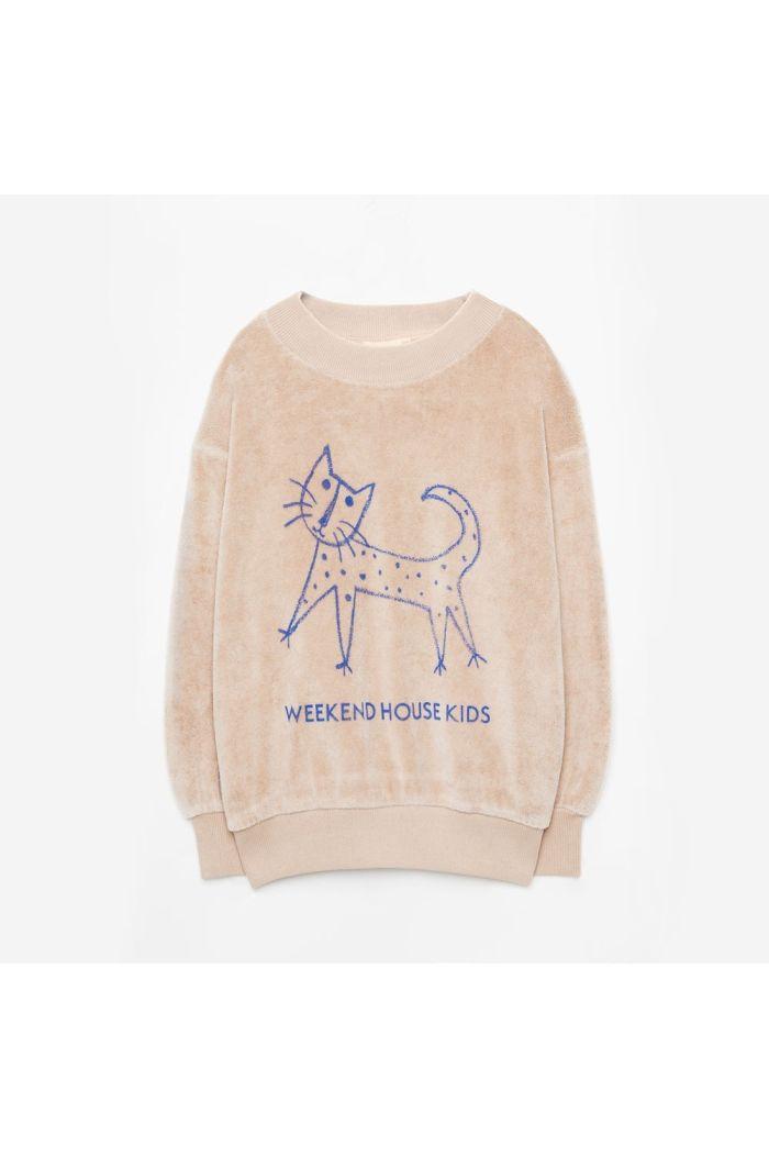 Weekend House Kids Cat Soft Sweatshirt Sand_1