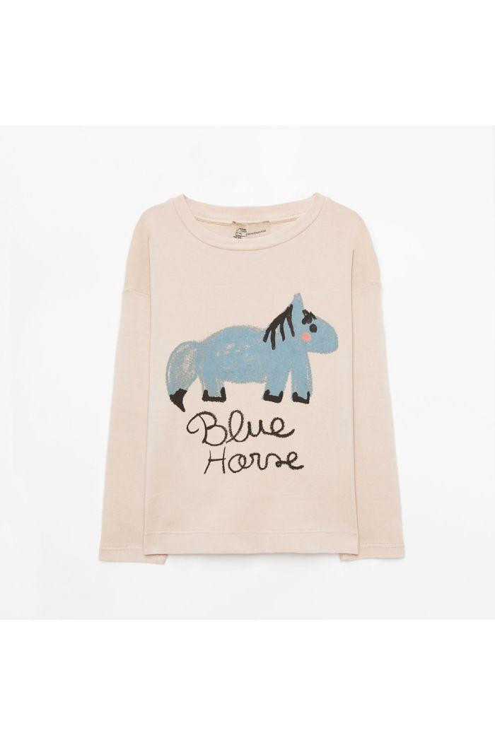 Weekend House Kids Blue horse long t-shirt Sand_1