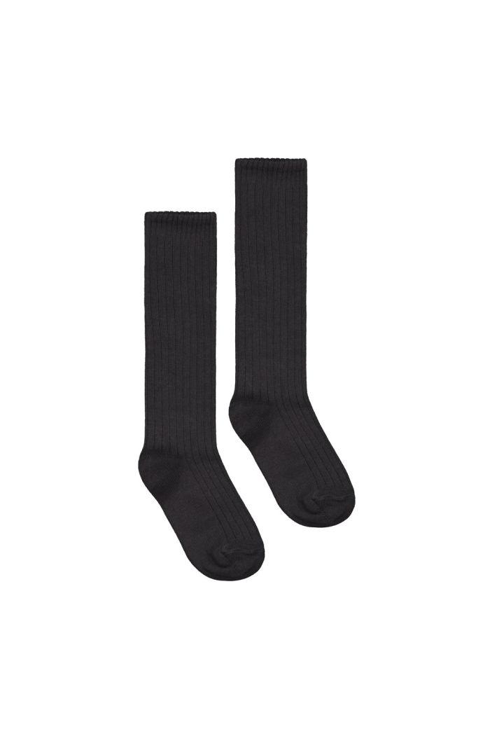 Gray Label Long Ribbed Socks Nearly Black_1