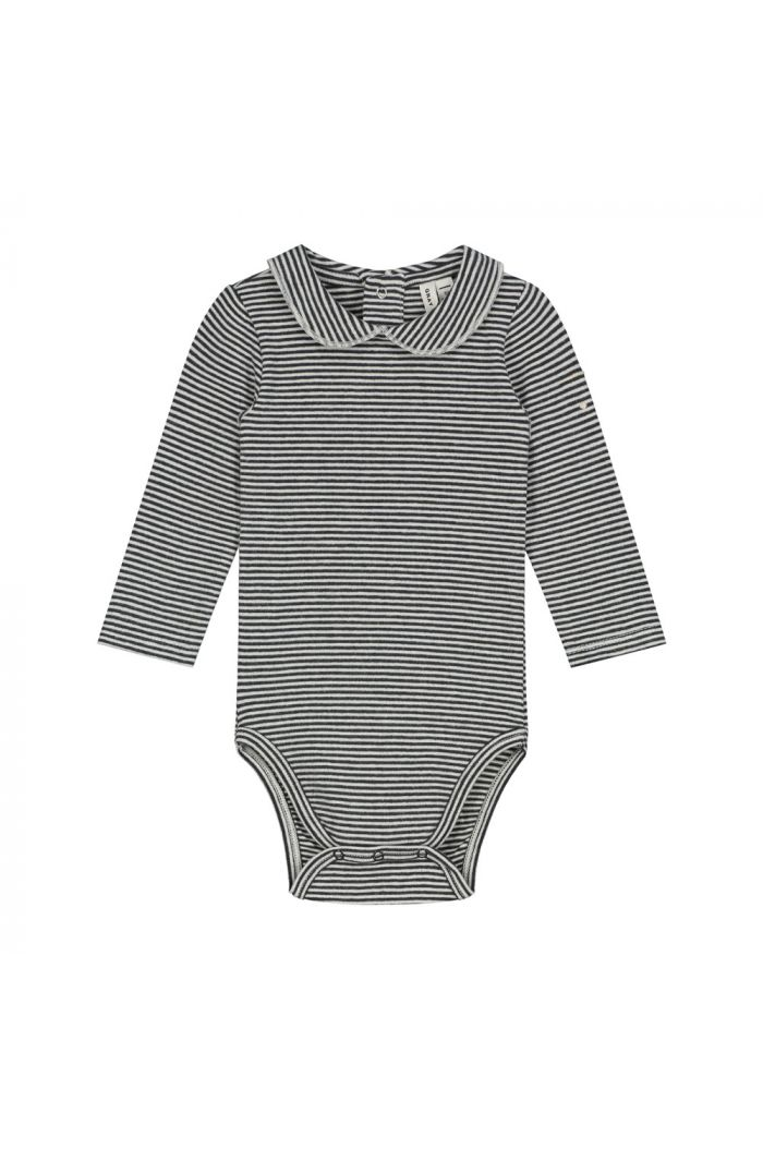 Gray Label Baby Collar Onesie Nearly Black / Cream Stripe_1