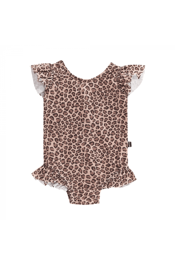 House Of Jamie Ruffled Swimsuit Caramel Leopard